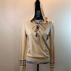 Scrapbook hooded embroidered lace up front shirt